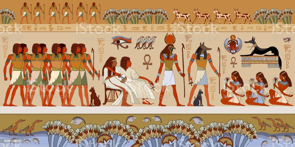 Egyptian gods and pharaohs. Murals ancient Egypt. vector art illustration