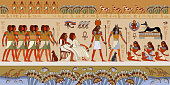 Egyptian gods and pharaohs. Murals ancient Egypt.