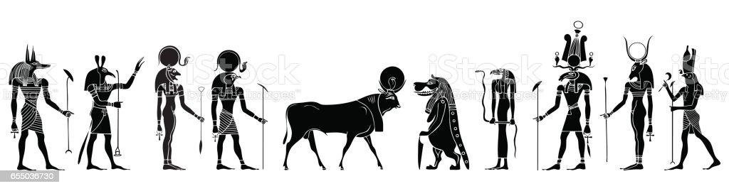 Egyptian gods, goddess, creatures and demons vector art illustration