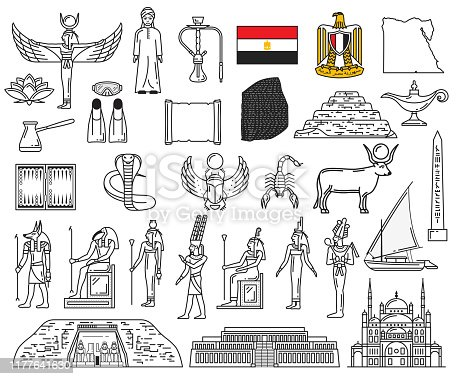 Egypt ancient gods and religion symbol icons. Vector deities, Anubis, Ankh, Horus eye, flag and Sphinx. Pharaoh pyramids, Karnak Temple, Deir el-Bahari, Abu Simbel, Mosque of Ibn Tulun