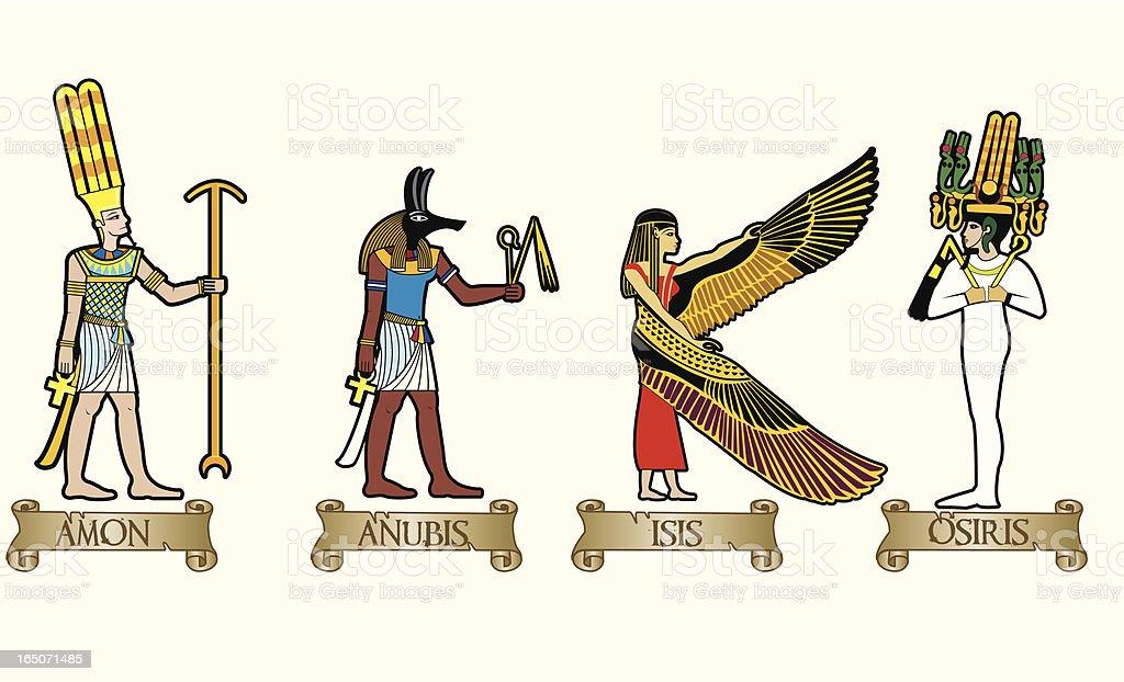 egyptian gods vector art illustration