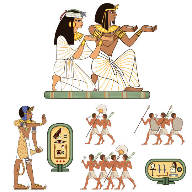 Egyptian hieroglyph and symbol Ancient culture sing and design element Pharaohs and gods colorful vector.Egypt icons set egyptian culture stock illustrations