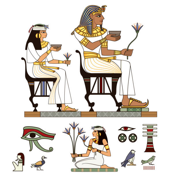 Egyptian hieroglyph and symbol Ancient culture sing Egyptian hieroglyph and symbol Ancient culture sing and design element.Pharaohs and gods colorful vector.Egypt icons set ancient egyptian culture stock illustrations