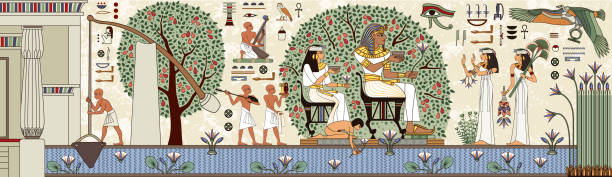 Egyptian hieroglyph and symbolAncient culture sing and symbol.Murals with ancient egypt scene. Egyptian hieroglyph and symbolAncient culture sing and symbol. ancient egyptian culture stock illustrations