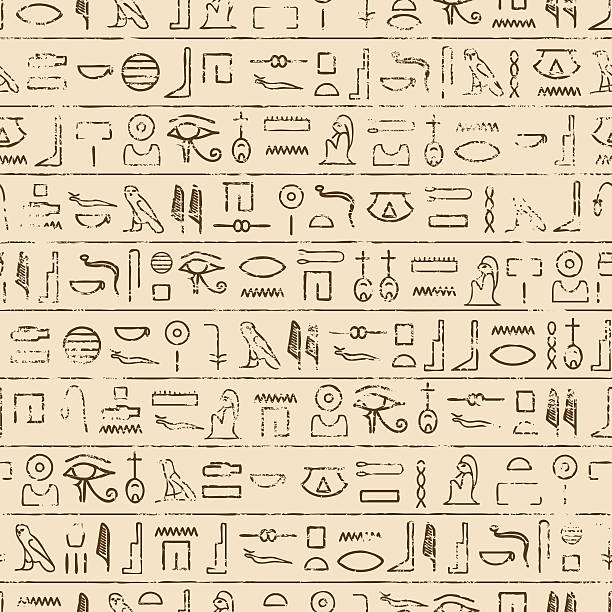 Egyptian Hieroglyphics Background Egyptian Hieroglyphics Background. Repeating tileable vector illustration that repeats left, right, up and down. egypt stock illustrations