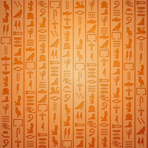 Egyptian hieroglyphics background Egyptian hieroglyphics. Symbol ancient, egyptian culture, egyptian old writing, vector illustration egyptian culture stock illustrations
