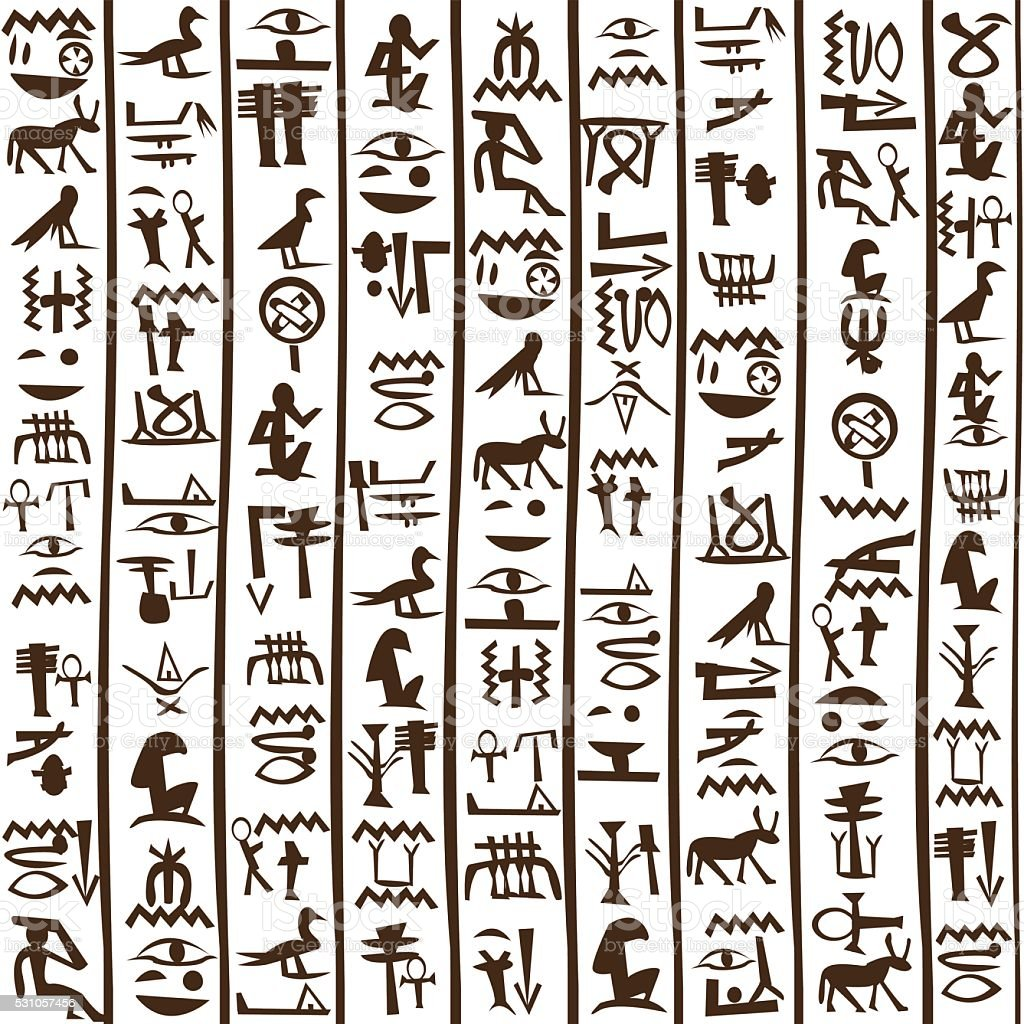 Egyptian hieroglyphics seamless background