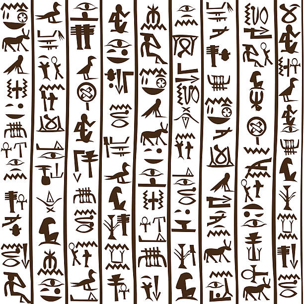 Egyptian hieroglyphics seamless background Black and white Egyptian hieroglyphics background egyptian culture stock illustrations