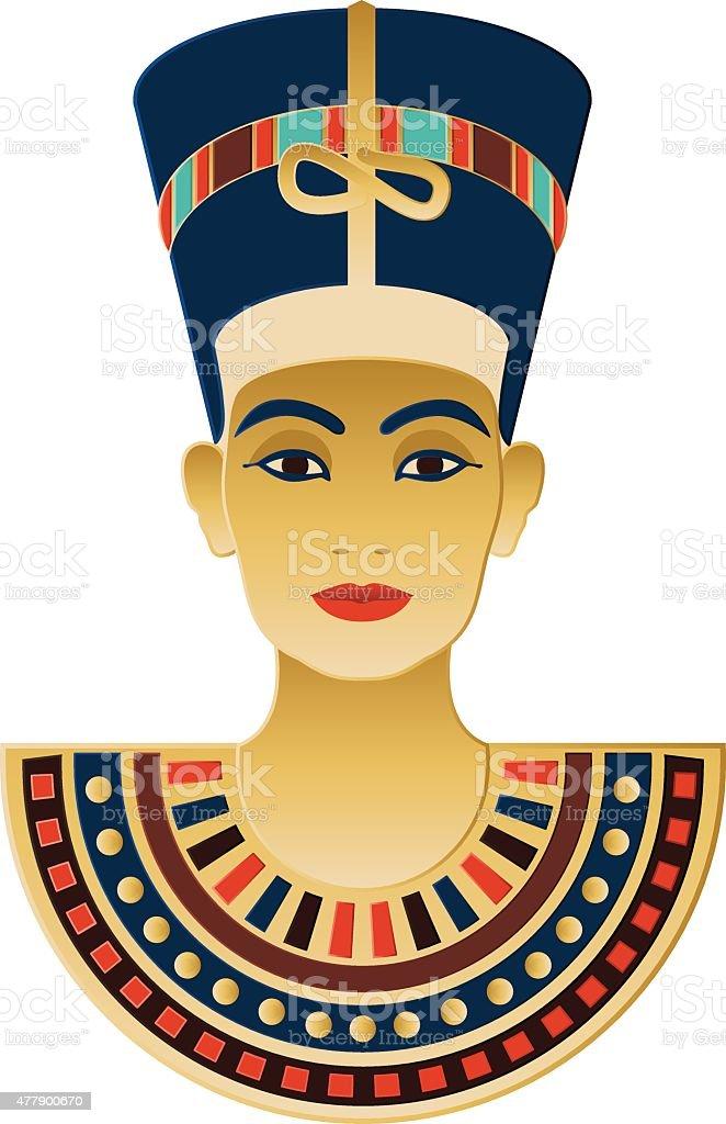 Egyptian Icon Nefertiti vector art illustration
