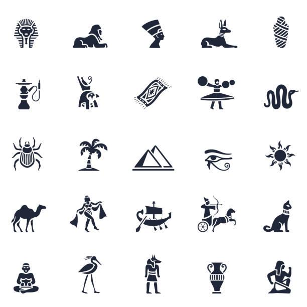 Egyptian Icon Set Egyptian Icon Set egyptian culture stock illustrations