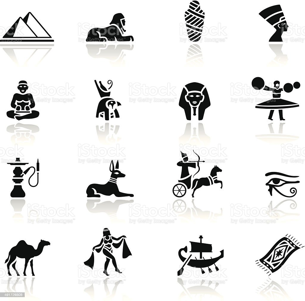Egyptian Icon Set vector art illustration