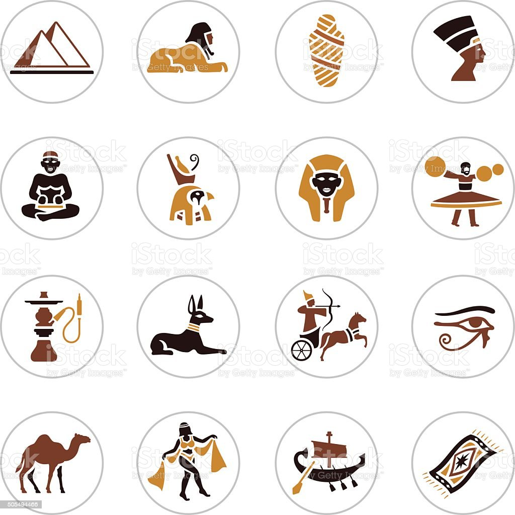Egyptian Icons vector art illustration