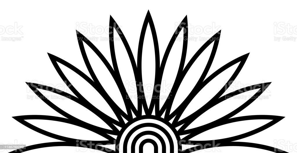 Egyptian Lotus Flower Ornament Papyrus Plant Vector Stock Vector Art