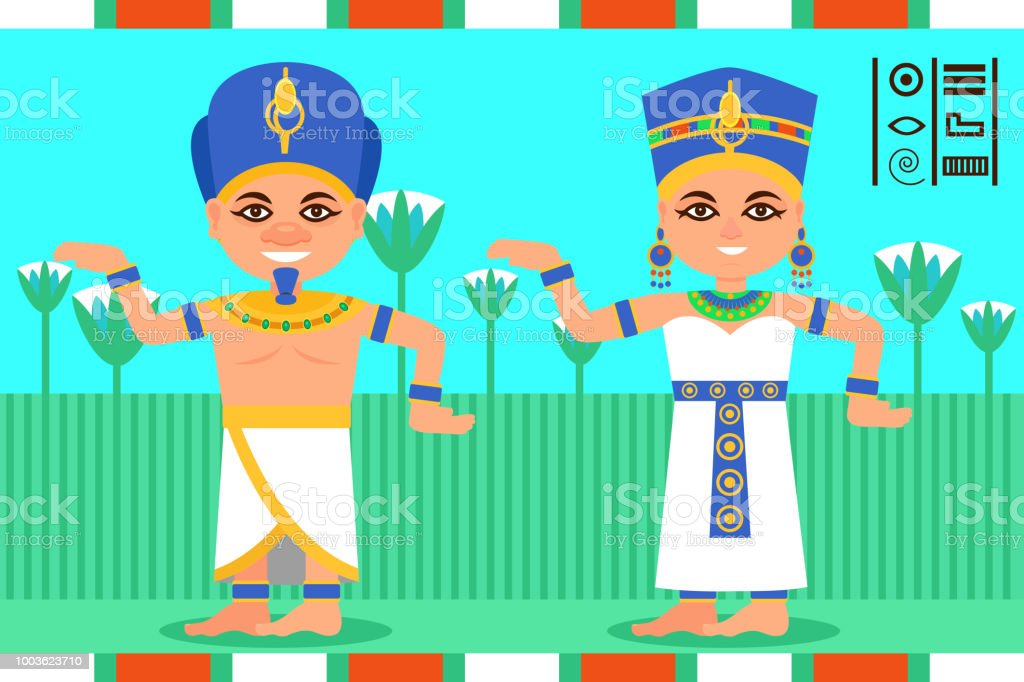 Egyptian Man And Woman In Dancing Action Pharaoh And Queen Of Egypt ...