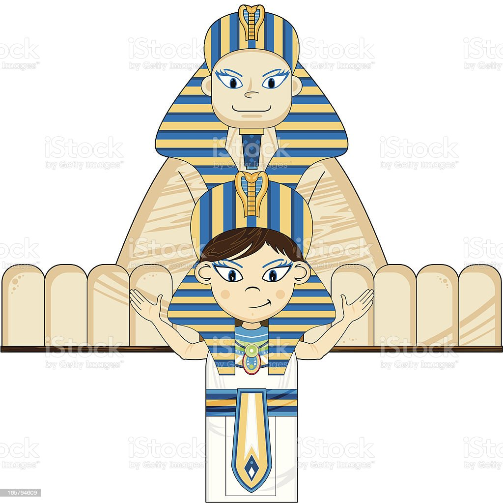 Egyptian Pharaoh and Great Sphinx royalty-free stock vector art