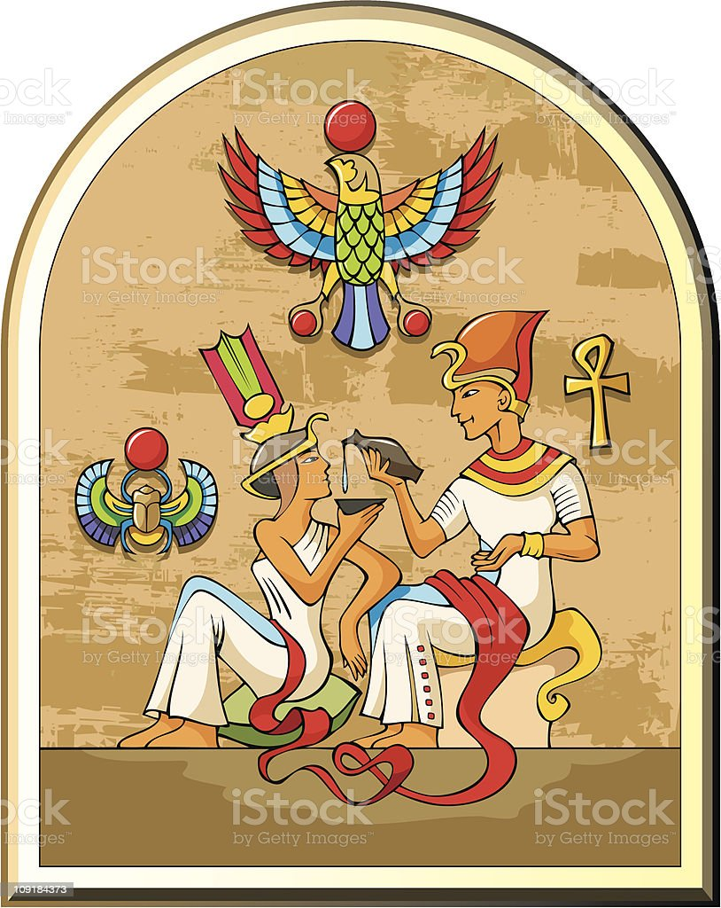 Egyptian pharaoh and his wife vector art illustration