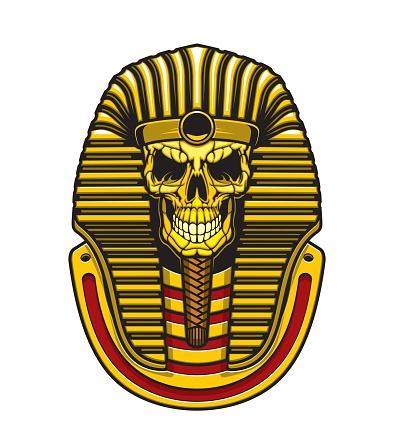 Egyptian pharaoh skull with gold mask