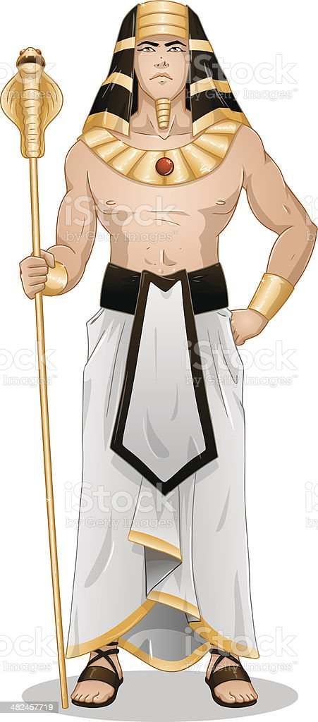 Egyptian Pharaoh Standing For Passover vector art illustration