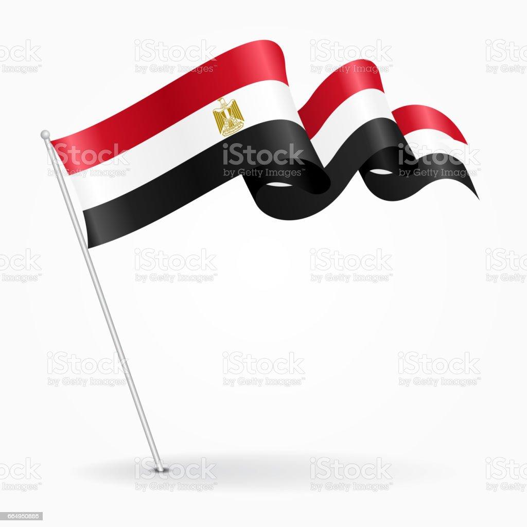 Egyptian pin wavy flag. Vector illustration.