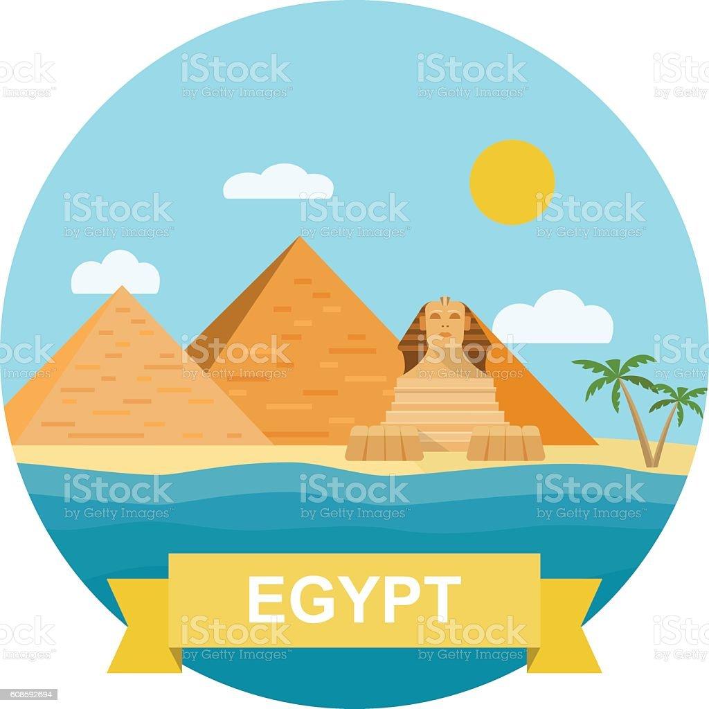 Egyptian pyramid and Sphinx. Vector flat illustration vector art illustration