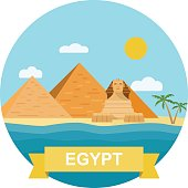 Egyptian pyramid and Sphinx. Vector flat illustration