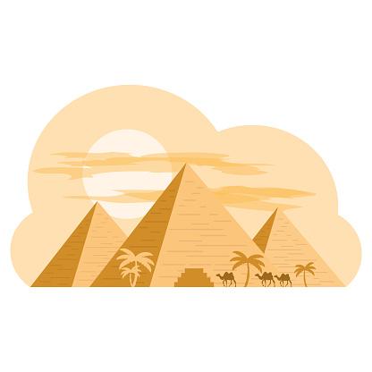 Egyptian pyramids. Desert. Vector illustration.