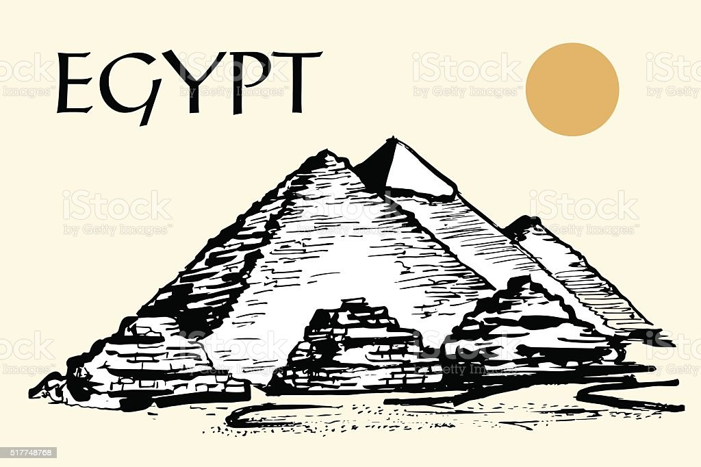 Egyptian pyramids, Great Pyramid of Giza vector art illustration