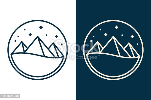 Egyptian pyramids or mountains, simple desert night landscape with stars. Two color variants, white and dark background. Flat vector line illustration.