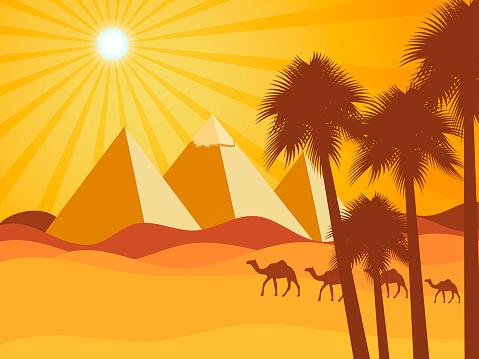Egyptian pyramids in the desert. Camels in the desert. Vector background. Illustration.