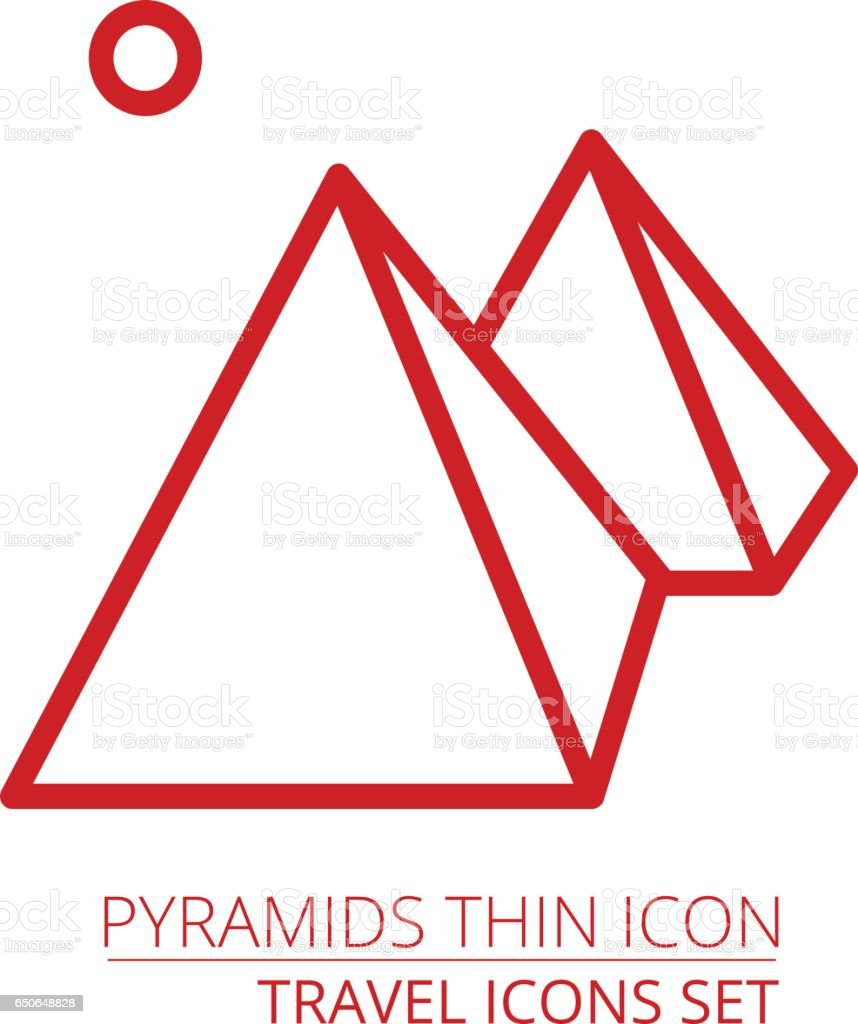 Egyptian pyramids line icon. vector art illustration