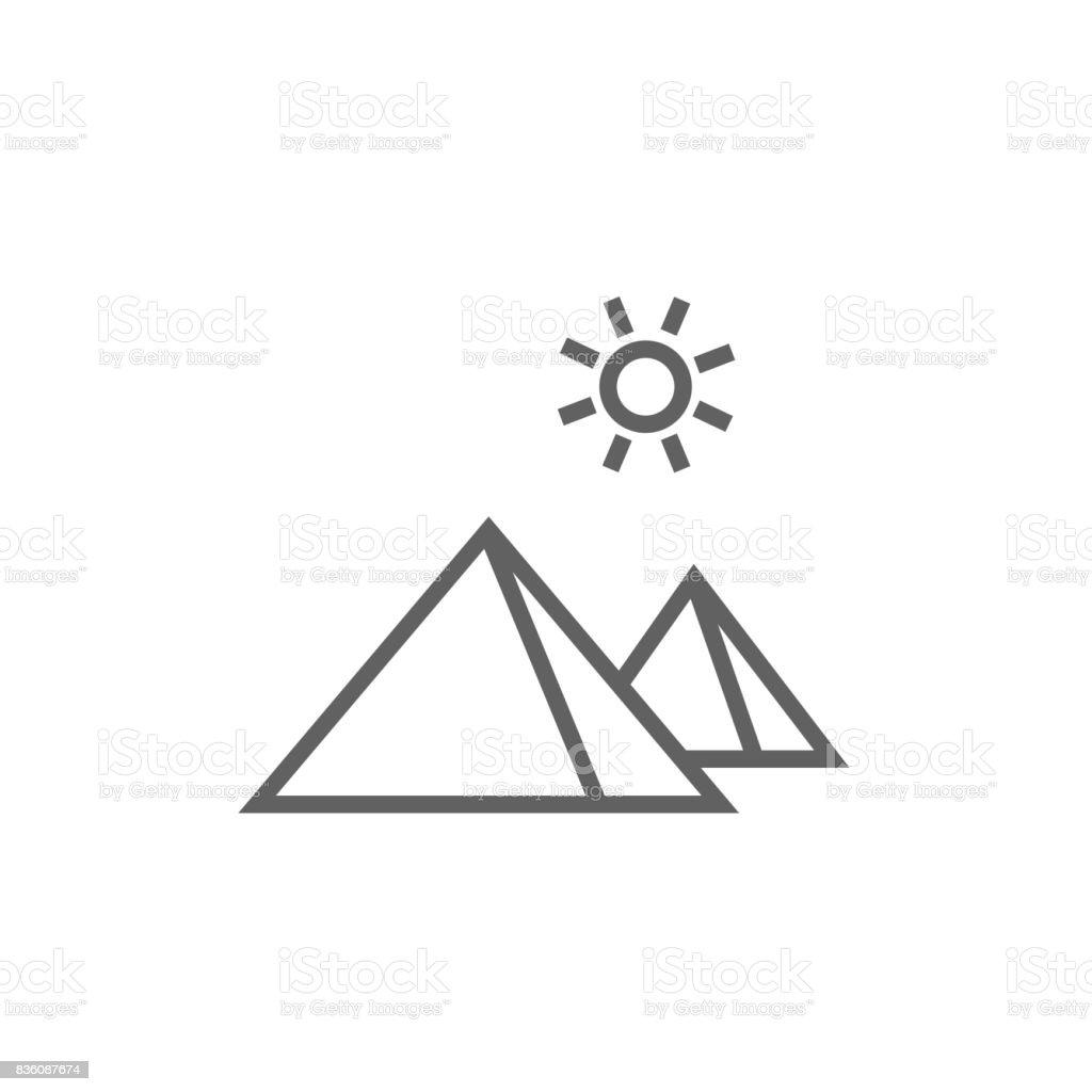 Egyptian pyramids line icon vector art illustration