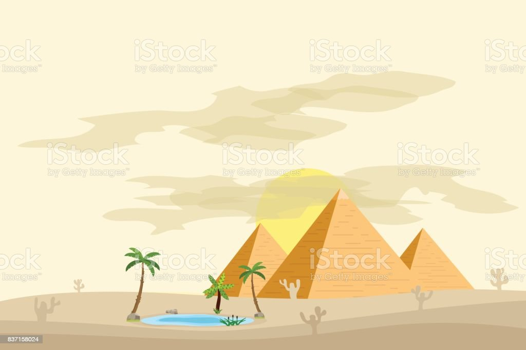 Egyptian pyramids, near an oasis with palm trees and water.
