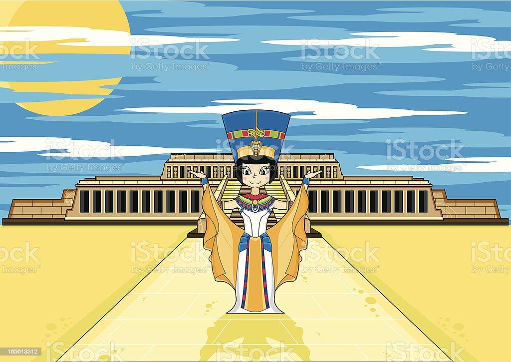 Egyptian Queen at Hatshepsut's Temple vector art illustration
