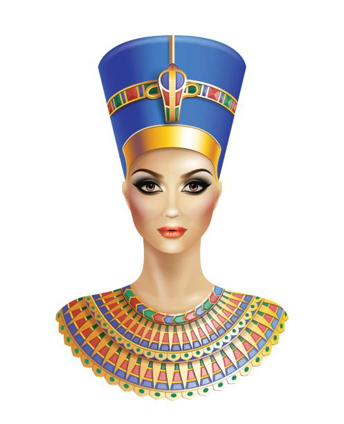 Egyptian queen Nefertiti. Egyptian queen Nefertiti isolated on white background. egyptian culture stock illustrations