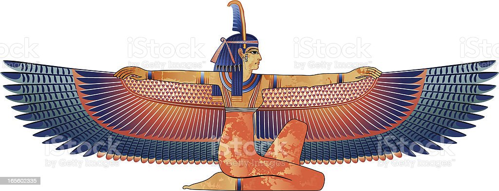 Egyptian queen with wings isolated on white vector art illustration