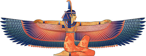 Egyptian queen with wings isolated on white /file_thumbview_approve.php?size=1&id=2490181 ancient egyptian culture stock illustrations