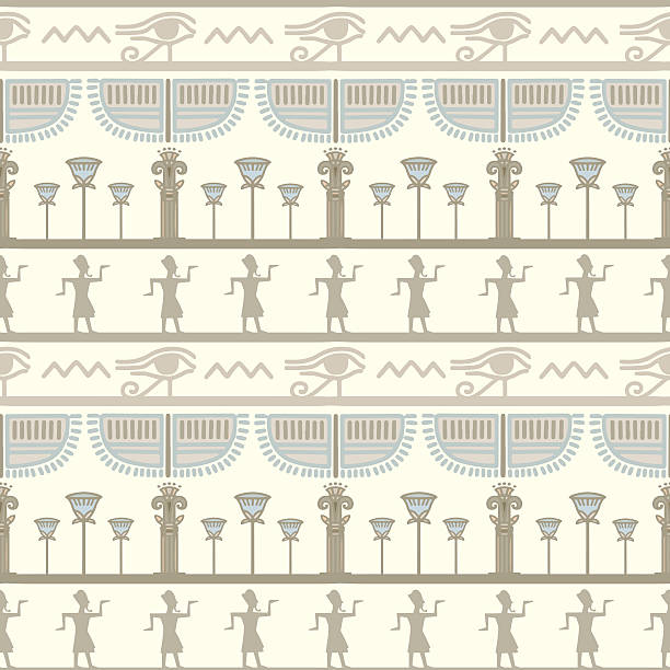 Egyptian seamless borders pattern Egyptian seamless borders pattern. Ethnic print - vector artwork ancient egyptian culture stock illustrations