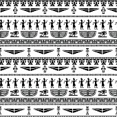 Egyptian seamless borders pattern in black and white - vector artwork