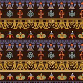 Egyptian borders colourful seamless pattern - vector artwork