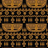 Egyptian seamless borders pattern in black and gold. Ethnic print - vector artwork