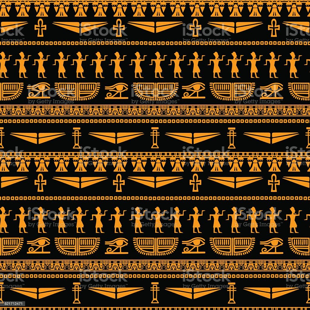 Egyptian seamless pattern vector art illustration