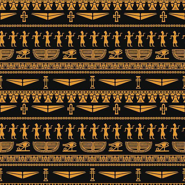 bildbanksillustrationer, clip art samt tecknat material och ikoner med egyptian seamless pattern - egyptisk kultur