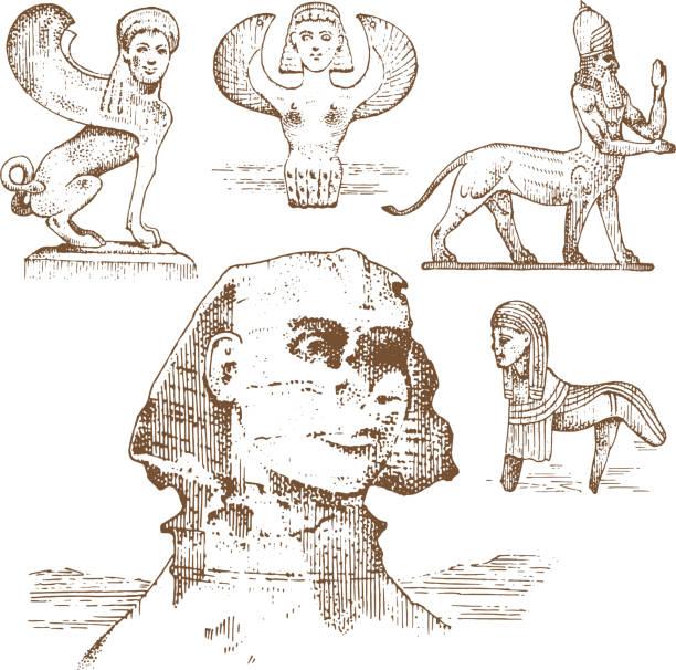bildbanksillustrationer, clip art samt tecknat material och ikoner med egyptiska sfinxen och andra fantastiska varelser, mytologi symboler av forntida civilisationer, centaurus - centaurus