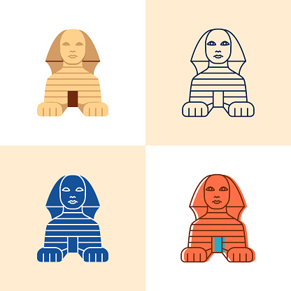 Egyptian Sphinx icon set in flat and line style