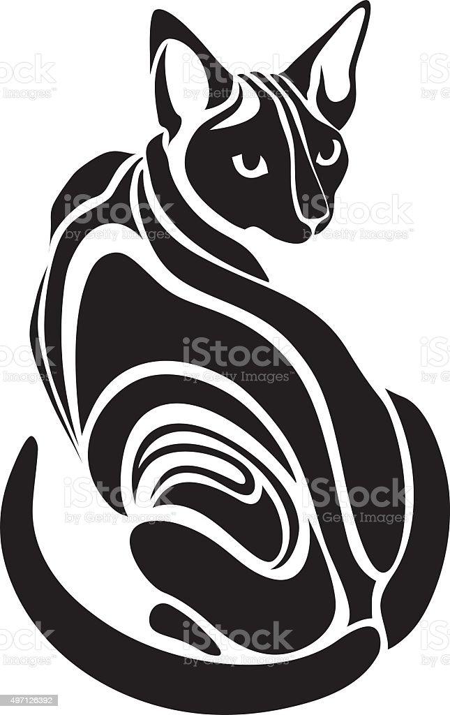 Sphynx Kot Egipski Czarny Tatuaż Rysunek Wygląd Niebezpiecznych