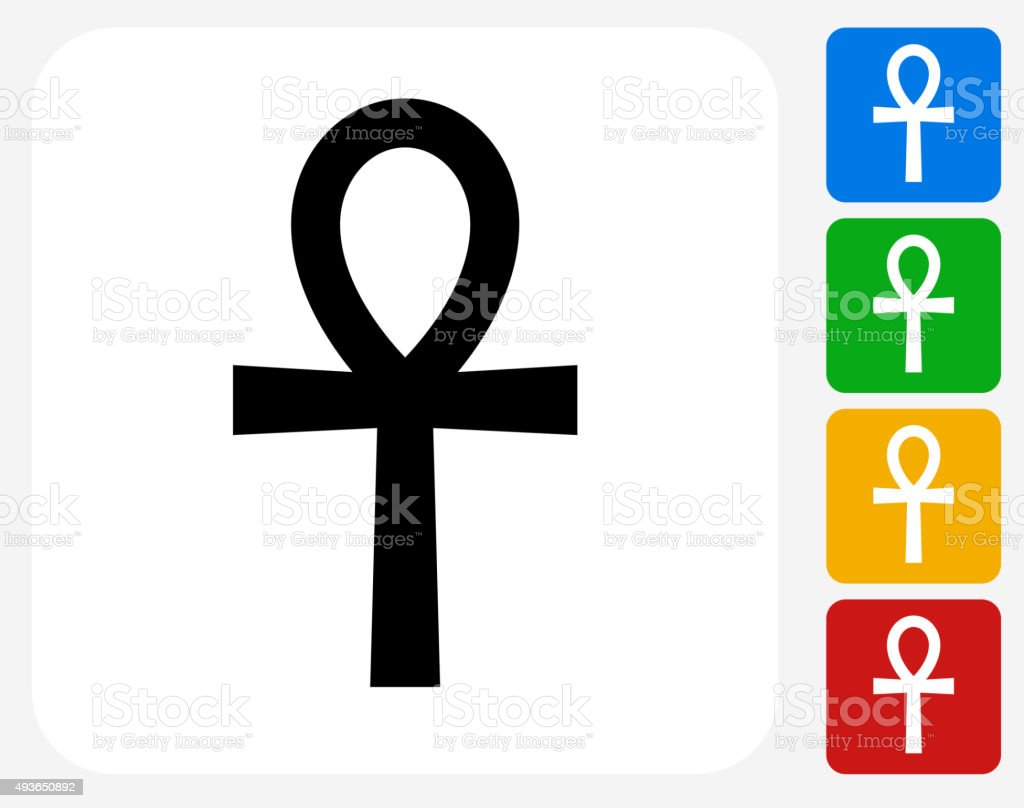 Egyptian Symbol Ankh Icon Flat Graphic Design vector art illustration