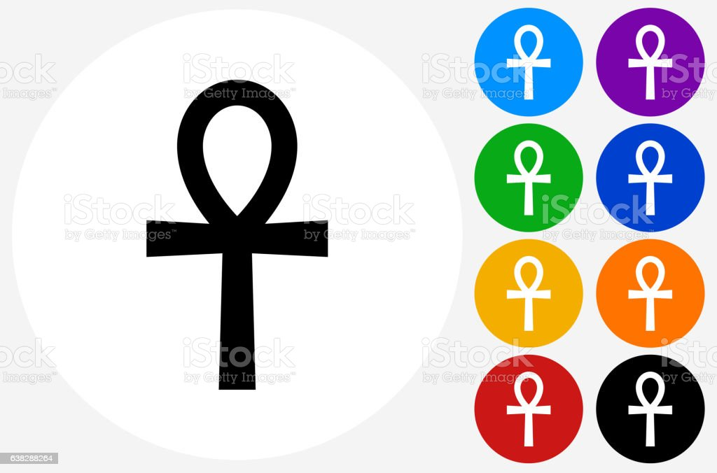 Egyptian Symbol Ankh Icon On Flat Color Circle Buttons Stock Vector