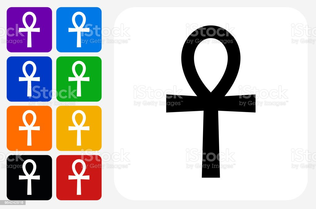 Egyptian Symbol Ankh Icon Square Button Set Stock Vector Art More