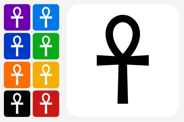 Egyptian Symbol Ankh Icon Square Button Set vector art illustration