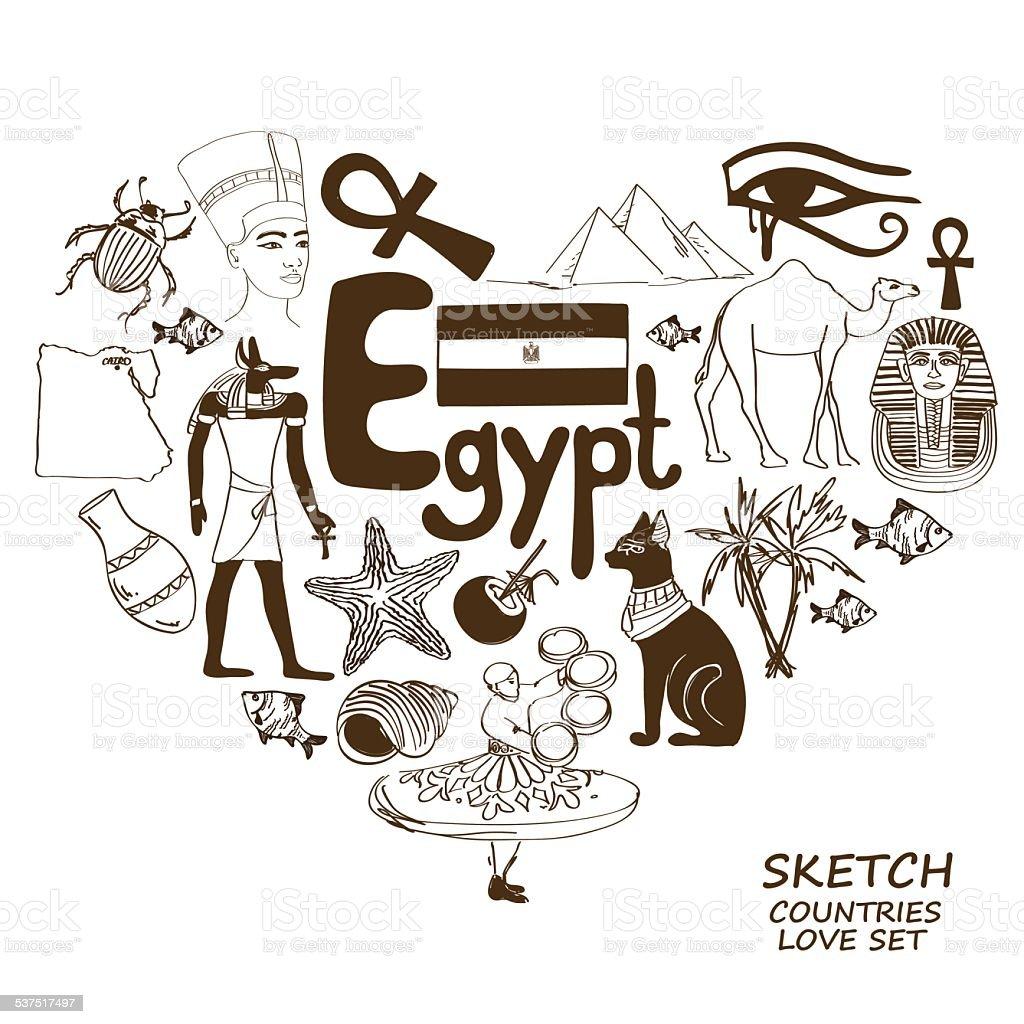 Egyptian Symbols In Heart Shape Concept Stock Vector Art More